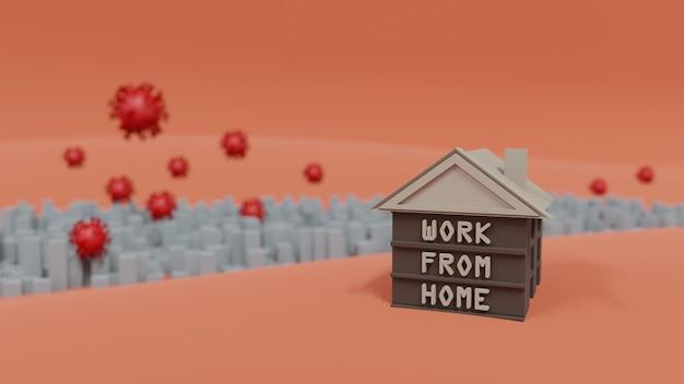 Werk vanuit huis concept: het huismodel buiten de stad heeft een achtergrond van een stad die is aangevallen door het coronavirus covid-19 - 3d-weergave.
