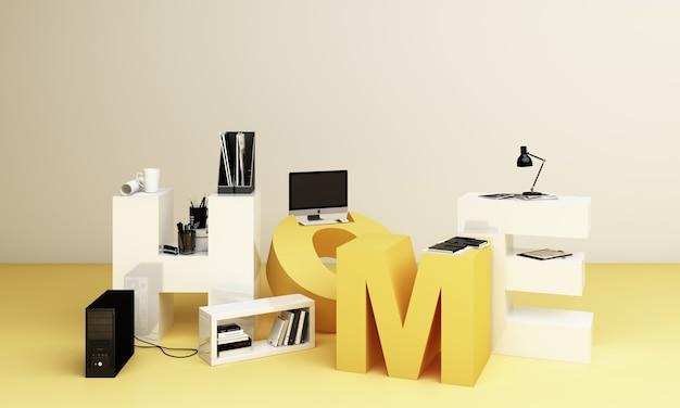 Werkapparatuur en computer het is omgeven door de letters wokr form home in gele tinten. 3d-weergave