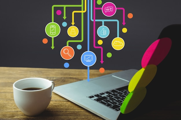 Werken met apps en een kopje koffie