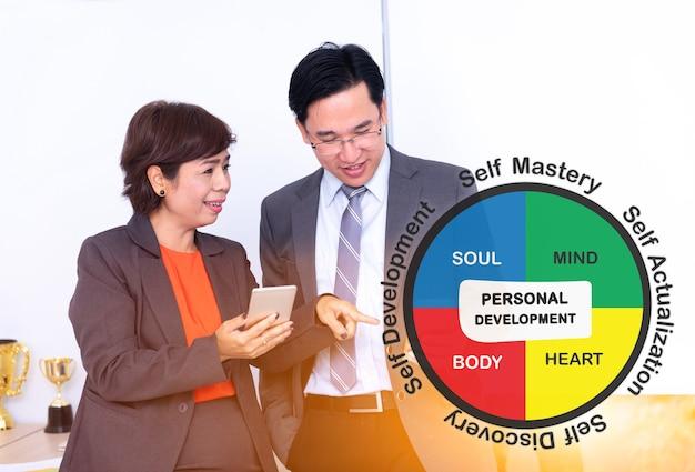Werken met collega's en teamwork. teachnologie en innovatie voor persoonlijke ontwikkeling op succesvol zakelijk.