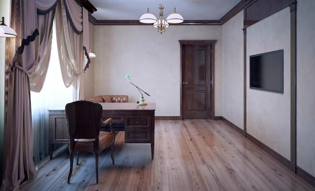 Werkkamer met eiken meubelen