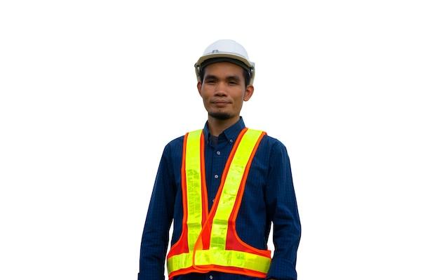 Werknemer ingenieur engineering architectuur constructie op witte achtergrond