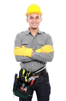 Werknemer klaar om te werken
