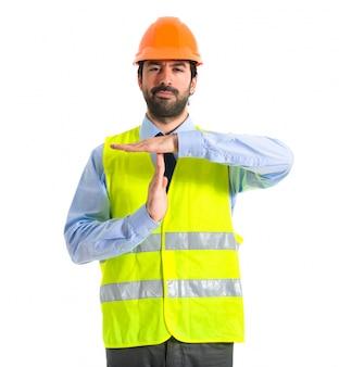 Werknemer maken tijd uit gebaar