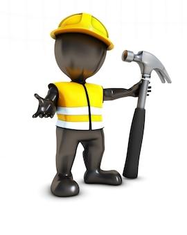 Werknemer met een hamer