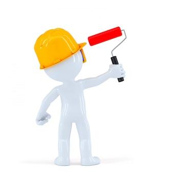 Werknemer met verfrol schilderen onzichtbare muur