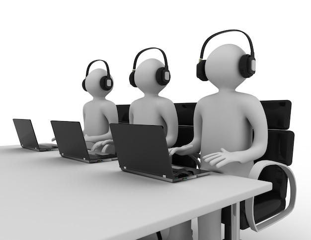 Werknemers die in een callcenter werken