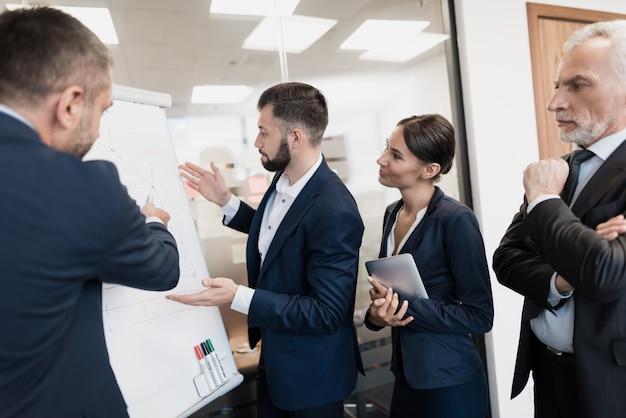 Werknemers en hun directeur staan naast schema met schema.