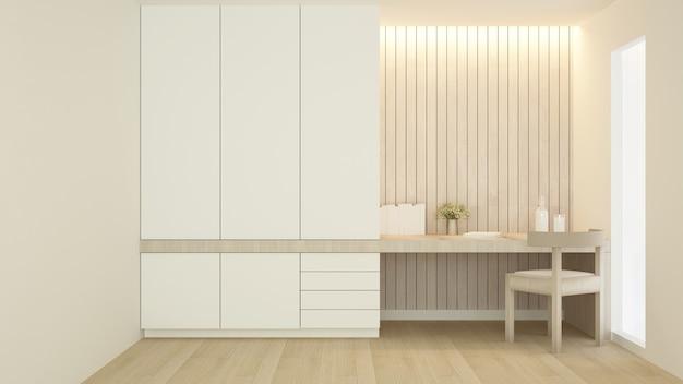Werkplek en garderobe in condominium of hotel