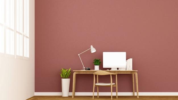 Werkplek en rode muur versieren.
