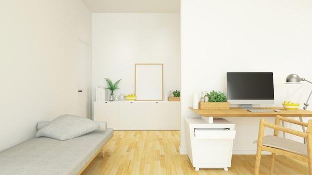 Werkplek en woonruimte in huis of condominium - 3d-rendering