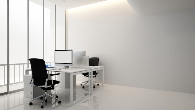 Werkplek kantoorgebouw, interieur 3d-rendering