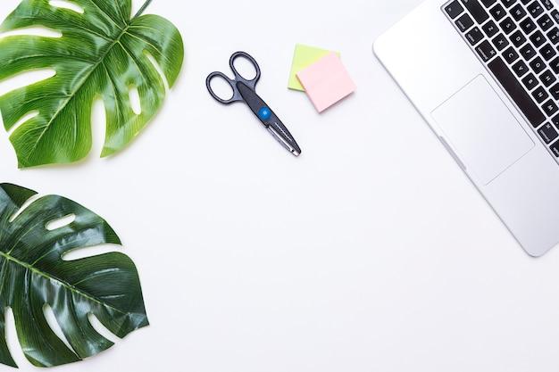 Werkplek met bladeren en laptop
