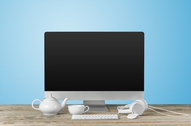 Werkplek met moderne desktopcomputer op tafel