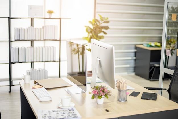Werkplek moderne kantoor achtergrond