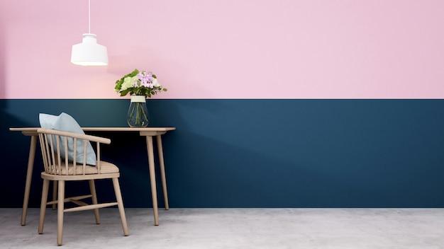 Werkplek of dinging kamer versieren blauwe muur en roze muur