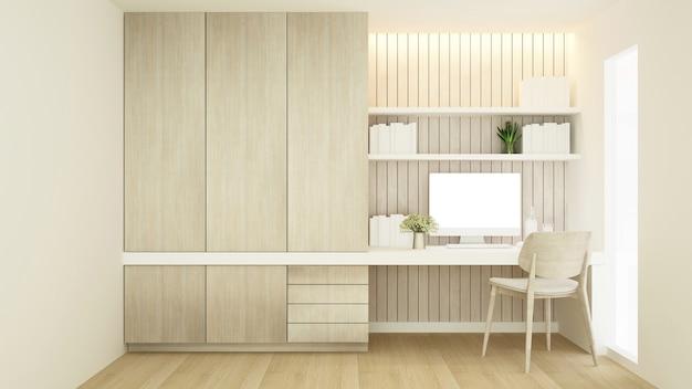 Werkplek op wanddecoratie en garderobe in condominium