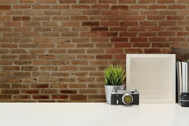 Werkruimte en kopieer ruimte op de werkruimte van de fotograaf