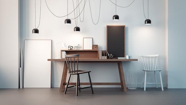 Werkruimte en modern kantoorinterieur / 3d-weergave