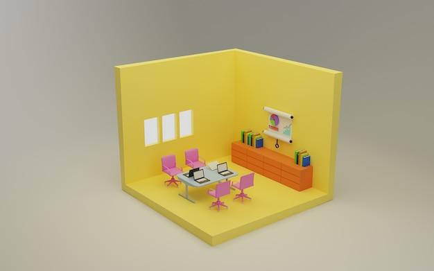 Werkruimte isometrische 3d-rendering