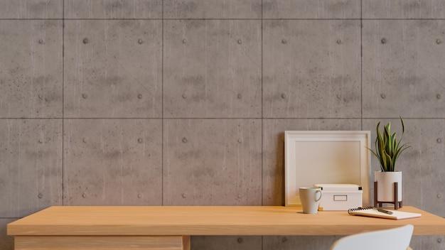 Werkruimte met decoraties op de tafel en stoel met zoldermuur 3d render 3d illustratie