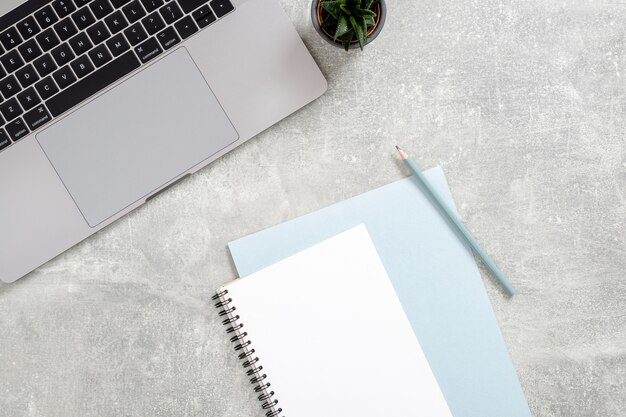 Werkruimte met laptopcomputer, vrouwelijk dagboek, succulente installatie op betonnen steen