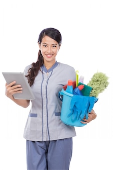 Werkster met tablet-touchpad