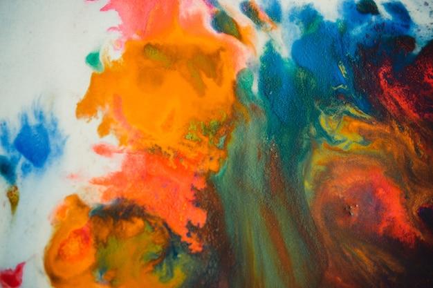 Wervelwind vortex verspreidt gekleurde inktkleuren op een witte achtergrond. verspreidt abstract kleurstofinkt rode, groene, gele, oranje, blauwe achtergrond op papier. kunst creatieve abstracte achtergrond. kleurrijke achtergrond