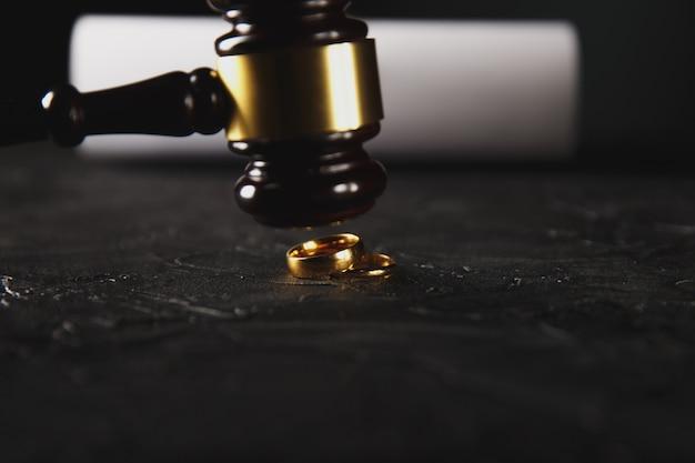 Wet, advocaat, notariszegel en pen op bureau.