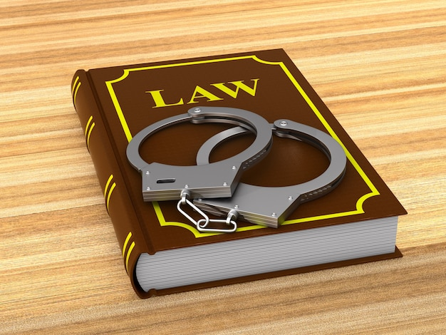 Wetboek en handboeien. 3d illustratie