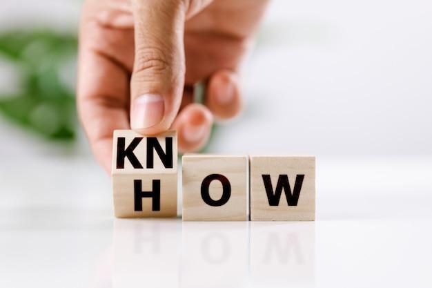 Weten hoe en bedrijfsconcept. mannen met de hand flip-kubus en veranderde het woord hoe te weten op een witte tafel