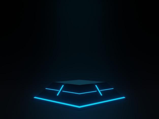Wetenschappelijk podium met blauw licht