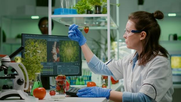 Wetenschapper-chemicus die aardbei controleert met behulp van een medisch pincet die in een biotechnologisch laboratorium werkt