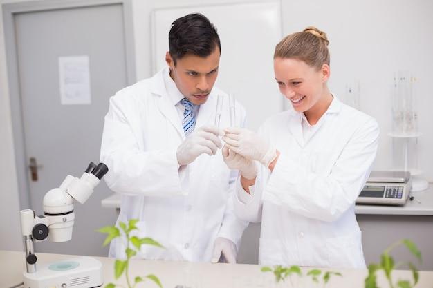 Wetenschapper die buizen onderzoekt