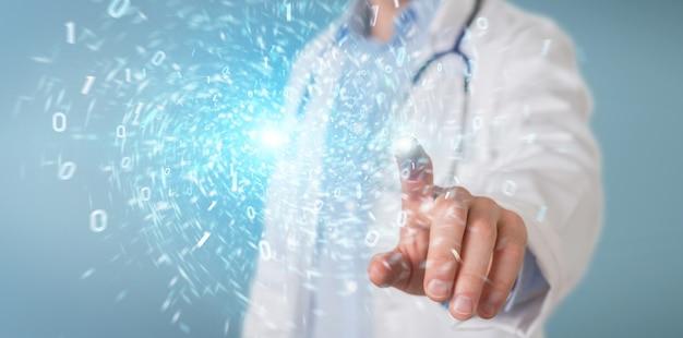 Wetenschapper die duurzame en duurzame eco-energie 3d-rendering creëert