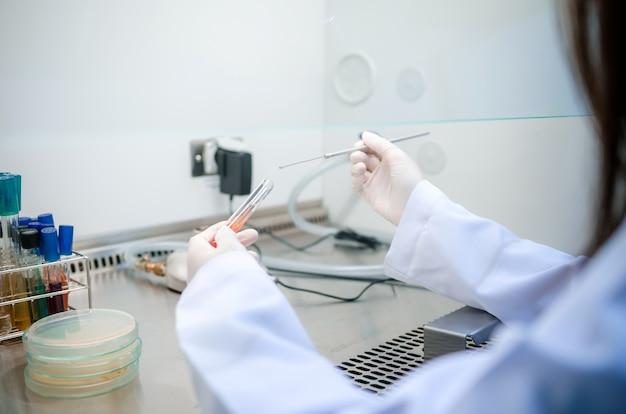 Wetenschapper gebruikte chemische oplossing en laboratoriumapparatuur testen voor bacteriën