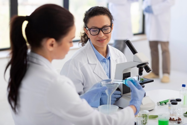 Wetenschappers die middelgroot schot samenwerken