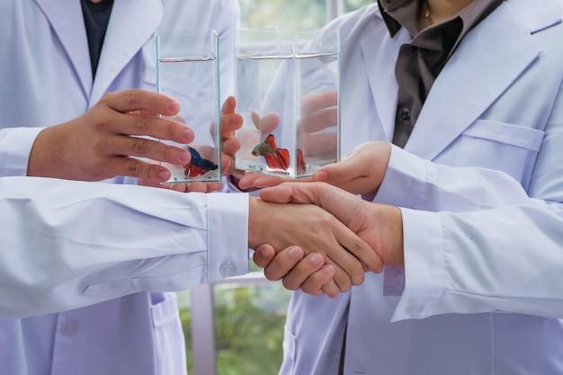 Wetenschappers werken mee aan handshaking om successen met visonderzoek te feliciteren