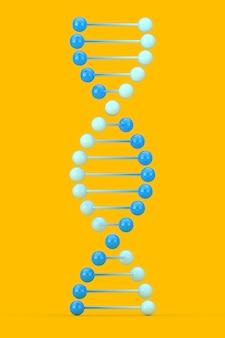 Wetenschapsconcept. blauwe dna-molecuul spiraal op een gele achtergrond. 3d-rendering