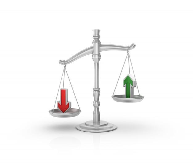 Wettelijke weegschaal met pijlen