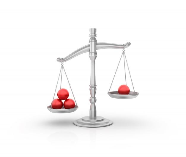 Wettelijke weegschaal met rode ballen