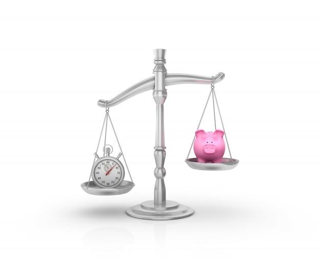Wettelijke weegschaal met stopwatch en spaarvarken
