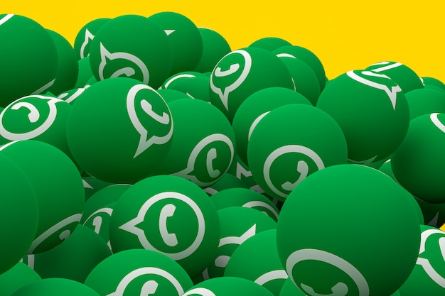 Whatsapp emoji 3d render op gele achtergrond, sociale media ballonsymbool met whatsapp-symbool