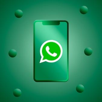 Whatsapp-logo op het telefoonscherm 3d-rendering Premium Foto