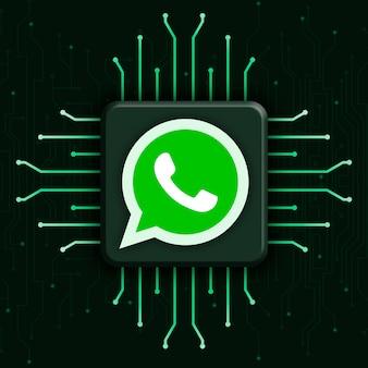 Whatsapp-logo op realistische cpu-technologieachtergrond 3d
