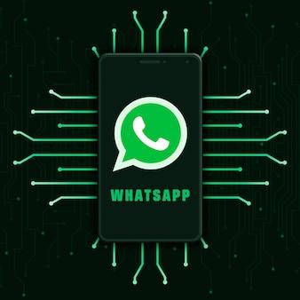 Whatsapp-logo pictogram op het telefoonscherm op technische achtergrond 3d