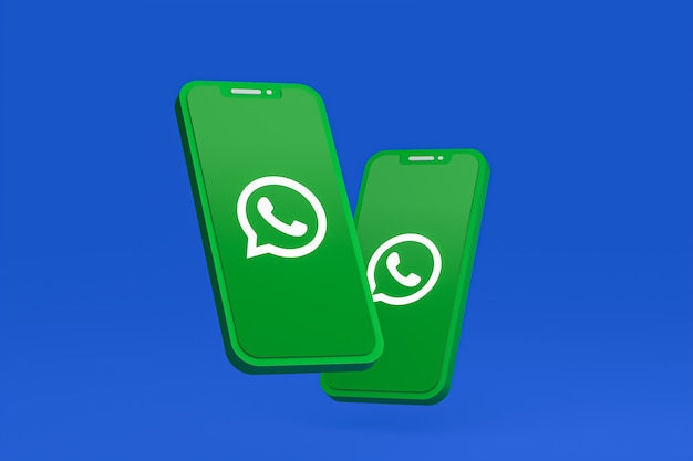Whatsapp-pictogram op scherm mobiele telefoons 3d render