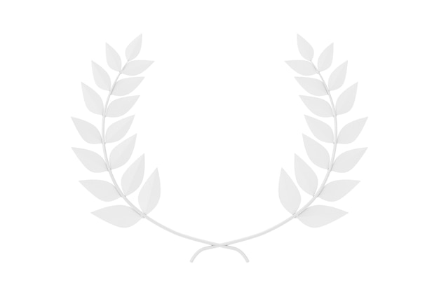White laurel wreath winner award in clay style op een witte achtergrond. 3d-rendering