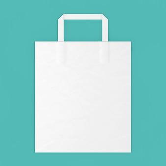 White paper bag mockup met lege ruimte voor uw ontwerp op een blauwe achtergrond. 3d-rendering