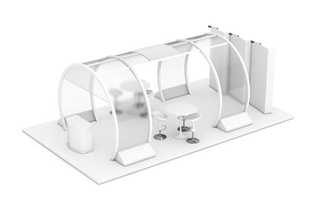White trade commerciële beursstand in clay style op een witte achtergrond. 3d-rendering